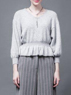 Light Gray Plain Long Sleeve V Neck Sweater
