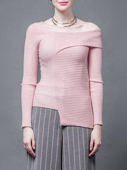 Pink Asymmetric Statement Plain Ribbed Sweater
