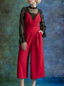 Red Solid Spaghetti V Neck Jumpsuit