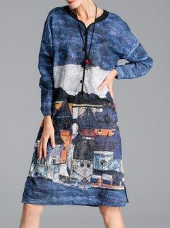 Painted Cotton-blend Long Sleeve Vintage Midi Dress