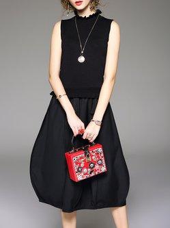 Black Sleeveless Knitted Paneled Midi Dress