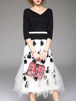 Black Paneled Elegant A-line Midi Dress