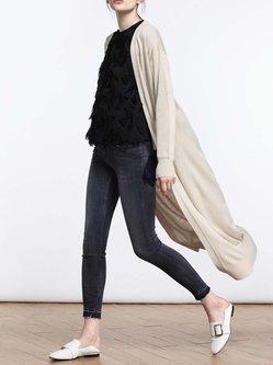 Khaki Plain Casual Knitted Pockets Cardigan