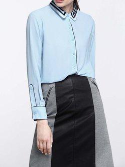 Binding Long Sleeve Elegant Plain Blouse