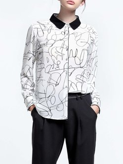 White Elegant Color-block Shirt Collar Blouse
