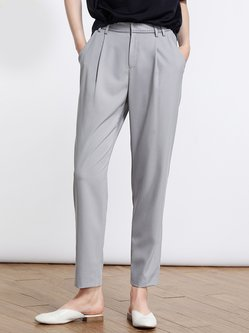 Light Gray Plain Simple Straight Leg Pants