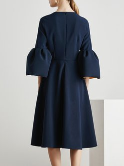 Casual A-line Square Neck Bell Sleeve Midi Dress