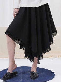 Black Simple Asymmetric Plain Midi Skirt