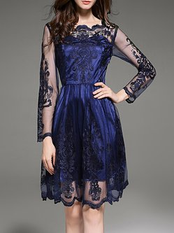 Navy Blue Mesh Embroidered Long Sleeve Midi Dress