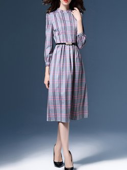 Long Sleeve Stand Collar Checkered/Plaid Shirt Dress With Belt