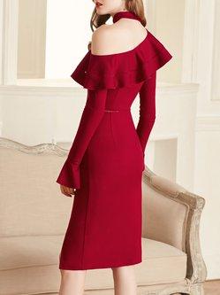 Burgundy Cotton Solid Sexy Midi Dress