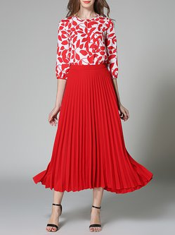 Red 3/4 Sleeve Pleated Printed Two Piece Maxi Dress