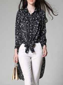 Black Casual Asymmetric Graphic Blouse