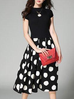 Black Cotton Two Piece  Printed Short Sleeve Midi Skirt