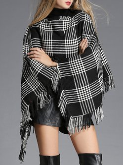 Black-white Casual Houndstooth Fringed Polyester Cape