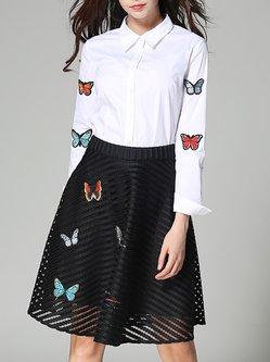 White-black Animal Print Two Piece Girly Midi Skirt