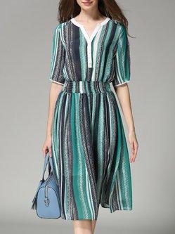 Green Half Sleeve Stripes V Neck Polyester Midi Dress