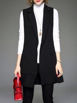 Black Plain Formal Lapel Pleated Vests
