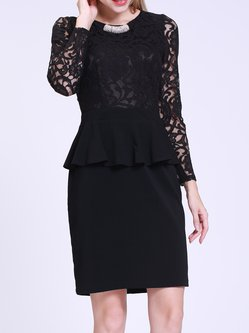 Bodycon Long Sleeve Lace Elegant Ruffled Midi Dress With Brooch