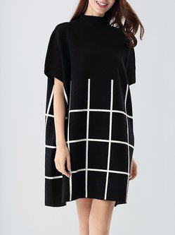 Checkered/Plaid Casual Knitted Batwing Sweater Dress