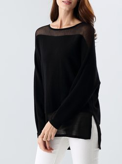 Wool Blend Boat Neck Plain Casual Long Sleeved Top