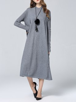 Casual Silk-blend Plain Knitted Long Sleeve Shift Midi Dress