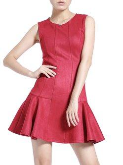 Red Plain  Girly Flounce Zipper Mini Dress