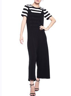 Black Casual Pockets Two Piece Stripes Jumpsuit