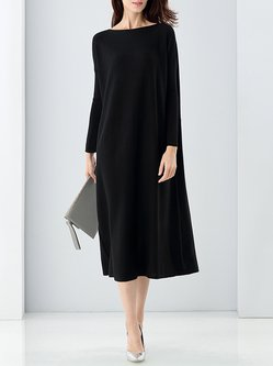 Slash Neck Long Sleeve Simple Midi Dress