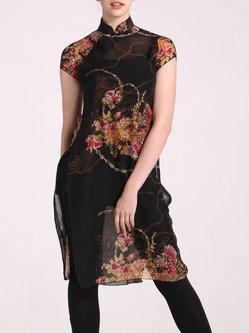 Black Floral Sheath Slit Short Sleeve Tunic