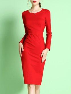 Red Long Sleeve Sheath Midi Dress
