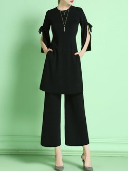 Black 3/4 Sleeve Two Piece Knitted Plain Jumpsuit