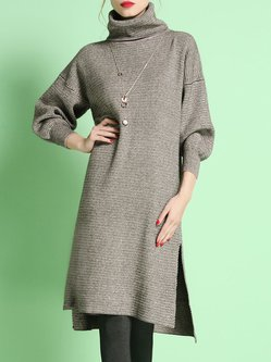 Apricot Plain Casual High Low Turtleneck Sweater Dress