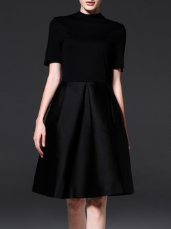 Black Elegant Short Sleeve A-line Midi Dress