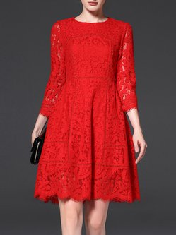 Red Guipure Lace Crew Neck 3/4 Sleeve Plain Midi Dress