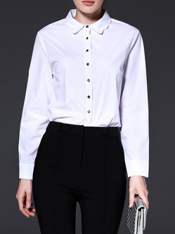 White Shirt Collar Long Sleeve Blouse