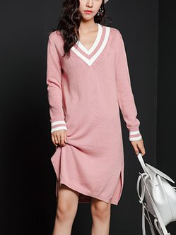Plain Long Sleeve Casual Knitted Sweater Dress