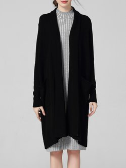 Black Knitted Plain Cashmere Casual Cardigan