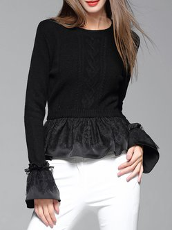 Black Bell Sleeve Lace Paneled Plain Knitted Sweater