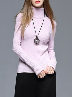 Pink Wool Blend Knitted Long Sleeve Turtleneck Sweater
