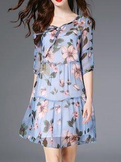 090b7997b90 Blue Floral Two Piece Half Sleeve Silk Mini Dress