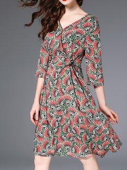 c73ed82c381 Multicolor Silk-blend Swing Printed 3 4 Sleeve Midi Dress