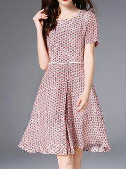 0c7ec89e0ae Deep Pink Swing Geometric Printed Casual Silk Midi Dress