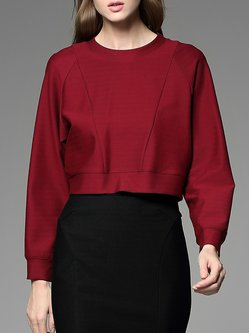 Red Paneled Long Sleeve Cropped Top