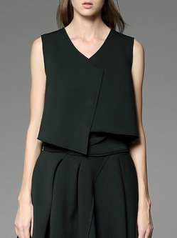 Dark Green Casual Asymmetric Plain Cropped Top