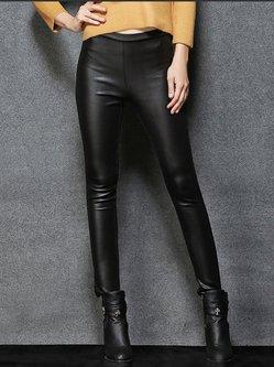 Black PU Casual Plain Leather Pants