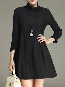Black A-line Folds Simple Paneled Cotton-blend Mini Dress