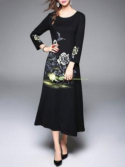 Floral Long Sleeve Elegant Midi Dress