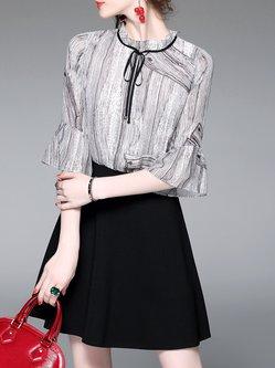 Bell Sleeve Elegant Printed Midi Dress