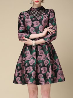 Red Floral 3/4 Sleeve Jacquard Midi Dress